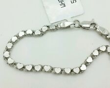 "14k Solid White Gold Heart Link Bracelet Chain 5.5"" 2.9mm Baby Girl Child"