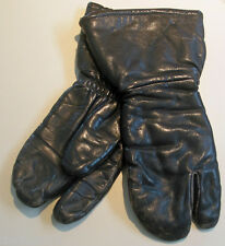 Black Leather Shooting Flight Pilot Flying Gloves Mittens Canada Vintage