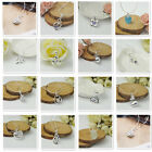 Wholesale Women Jewelry 925 Sterling Silver Crystal Pendants Necklace Chain NEW