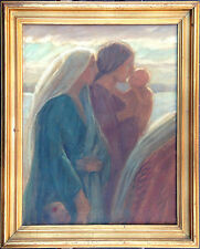 Anna E. Munch (1876-1960): RELIGIOUS Scene. Women and Children. Oil painting