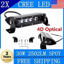 2x7Inch 30W Single Row Cree Slim Spot 4D Optical LED Light Bar Offroad Ford 4WD