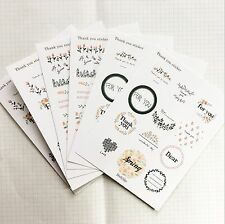 6 sheets Retro Flower Floral Thank you For you Love Heart Label stickers