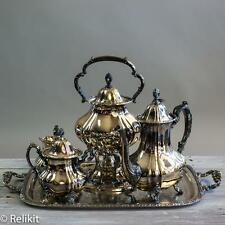 Poole Lancaster Rose 400 Silver Plate Tilt Tea Coffee Teapot Set 6-pc Set