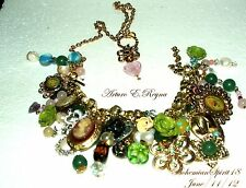 Vintage Charm BRACELET/NECKLACE CAMEO Pearls ROSES GEMSTONE Czech Glass  Beads
