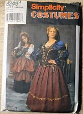 Simplicity 8249 Medieval Renaissance Dress/Gown Costume Pattern Size FF 18W-24W