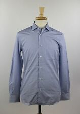 New Aspesi Blue White Striped 100% Cotton Dress Long Sleeve Shirt Size 40 15.75