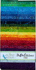 Island Batik Dotalicious Fire Yellow Red Green Batiks Jelly Roll Strips Pack 40