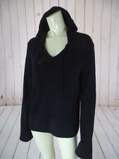 Ex Officio Knit Top Hoodie Black Stretch Nylon Spandex Fuzzy Drawstring COMFY!
