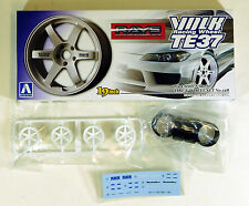 "Aoshima 1/24 Volk Racing TE37 19"" Rims Wheel & Tire Set Plastic Models 1001 128"