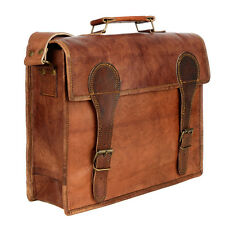 Fair Trade Handmade Large Old School Brown Leather Satchel - 2nd Quality