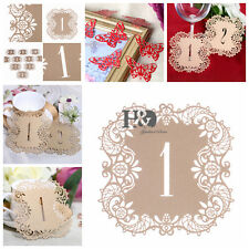 Rice Gold Shimmer Laser Cut Table Number Cards 1-10 Wedding Supplies Centerpiece