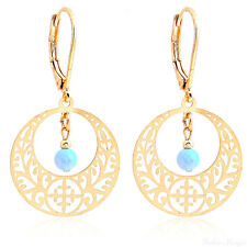 14K Gold Filled Boho Drop Dangle Earrings Opal Beads Ethnic Hollow High Quality