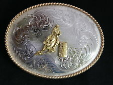 Montana Silversmiths Silver Gold Tooled Barrel Racer Racing Belt Buckle Warranty