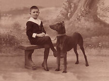 DOBERMAN PINSCHER AND BOY LOVELY VINTAGE STYLE DOG GREETINGS NOTE CARD
