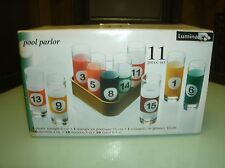 NEW LUMINARC POOL PARLOR 11 PIECE DRINKING GLASS RACK SET