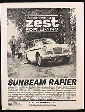 Vintage 1962 sport automobile magazine pub-sunbeam rapière, zest for living