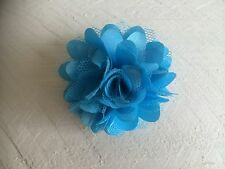 Blue Turquoise Hair Clip Small Flower Girl Bridesmaid Prom Races Fascinator