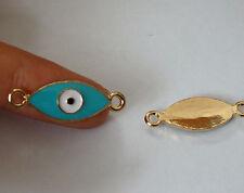 7 verde evil eye ciondolo pendente connettore color oro smaltati UK