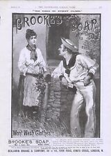 1889 ADVERT BROOKES SOAP SAILOR LEANING ON WALL TO CHAT TO WOMAN