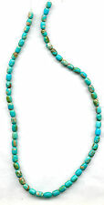 "MEXICAN CAMPITOS BOULDER TURQUOISE BARREL BEADS - 660B-  17"" Strand"