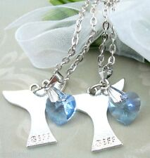 2 BFF H20 Just Add Water Inspired Mermaid Tail Pendant Blue Crystal Necklace H2O