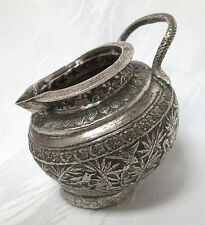 97.9g ANTIQUE PERSIAN STERLING SILVER SALT CELLAR EMBOSSED (#263)