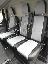 TO FIT A FORD TRANSIT CUSTOM VAN SEAT COVERS - DIESEL, SILVER + BLK LEATHERETTE