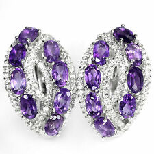 EXQUISITE! PURPLE AMETHYST GEMSTONE & WHITE CZ STERLING 925 SILVER EARRINGS