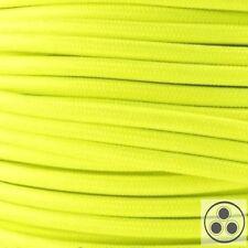 Textilkabel Stoffkabel Lampen-Kabel Stromkabel Elektrokabel Neon Gelb 3adrig