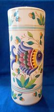 "Hand Painted Porcelain Umbrella Stand Holder Tall Vase Nautical Beach Fish 14"" H"