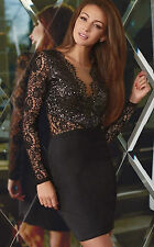 Abito ricamato pizzo Aderente scollo Nudo Lace Sequin Bodycon Party Dress S