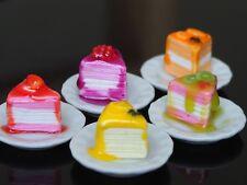 Dollhouse Miniature 5 Crepe Cake Top Fruit Strawberry Orange Kiwi Bakery Food