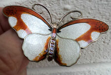 Attractive VERY LARGE Silver Enamel Butterfly Brooch - Hroar Prydz Norway