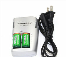2pcs Etinesan 1350mAh 3v CR123A rechargeable LiFePO4 li-ion battery wit  charger