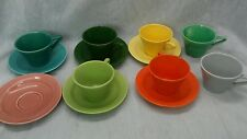 13 pieces Homer Laughlin Fiesta ware Harlequin cups saucers chip edge one cup