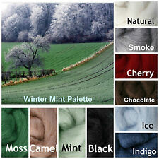 Winter Mint Palette, Ashford Corriedale Wool Roving, Needle Felting, 2.5 oz