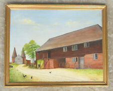 VINTAGE CANADIAN AMERICAN COUNTRY FARM HOUSE SCENE OIL PAINTING SIGNED A. COODE