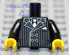 NEW Lego Male Minifig BLACK TORSO -Gray Pin Stripe Business Suit White Shirt Tie