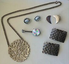 Vintage Costume Jewelry Lot Coro Earrings Necklace Banjo Brooch Silver tone Musi