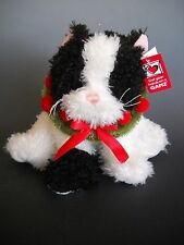 Ganz NIKI Black and White Stuffed Cat with a Holly Wreath NWT