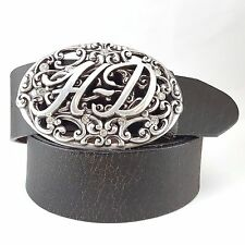 100% leather belt  w/  Harley Davidson Initial Engraved Buckle