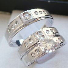 10K SOLID WHITE GOLD HIS & HER 3 PIECE WEDDING ENGAGEMENT BAND RING SET