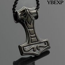 Men's Stainless Steel Vintage Punk Black Thor's Hammer Pendant Necklace Chain
