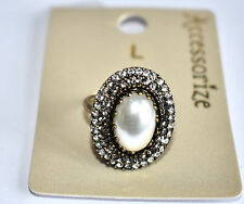 ACCESSORIZE, SZ L, ANTIQUE GOLD TONE, PEARL & DOUBLE CRYSTAL RING