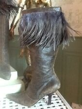 ITALO BALESTRI BOOTS BATTERED LEATHER AND OSTRICH FEATHER UK 5 EU 38
