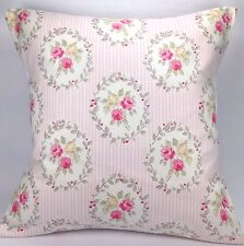 """Clarke and Clarke Felicity Pink Pin Stripe Rose Sage Taupe 16"""" Cushion Cover"""