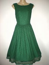 NEW VINTAGE 50'S STYLE GREEN FLORAL ROCKABILLY SWING PARTY DRESS SIZE 10