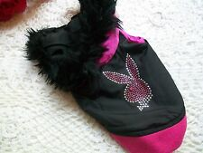 PLAYBOY HOODIE Pink Black RABBIT HEAD Fur Vest Jacket Dog XS/S Bling New Pet
