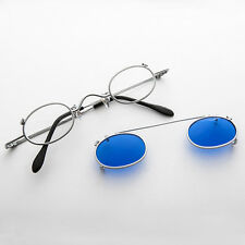 Small Round Clip on Vintage Sunglass RX Optical Frame Antique Silver&Blue-Ansel