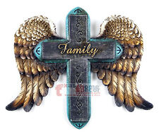 Winged Wall Cross Angel Family Turquoise Decorative Plaque Religious 9.5 x 8 in